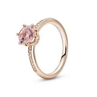Inel solitaire cu coroană roz strălucitoare