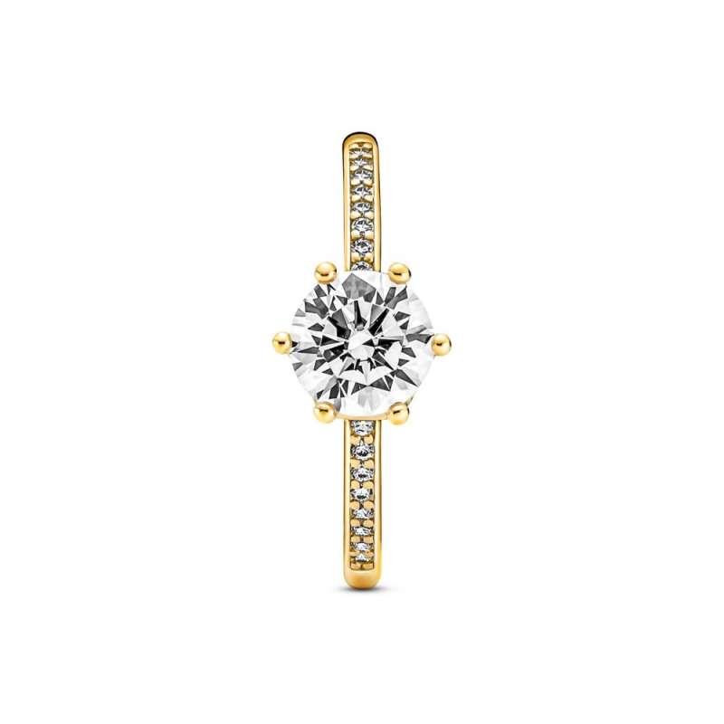Inel solitaire cu coroană transparentă strălucitoare