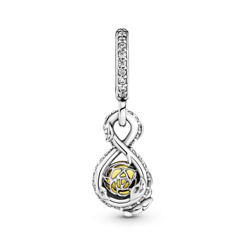 Pandantiv cu floare de trandafir și infinit - Belle de la Disney