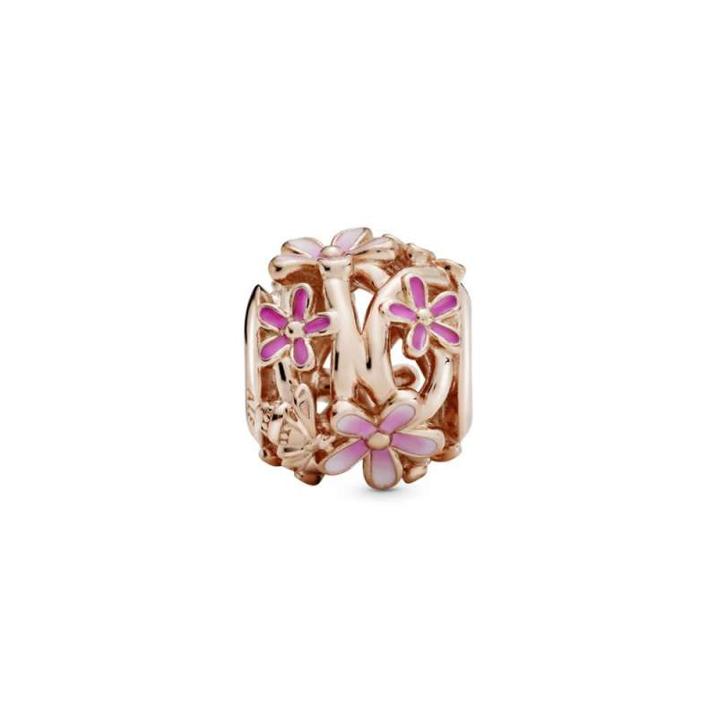 Talisman cu margaretă roz cu structură dantelată