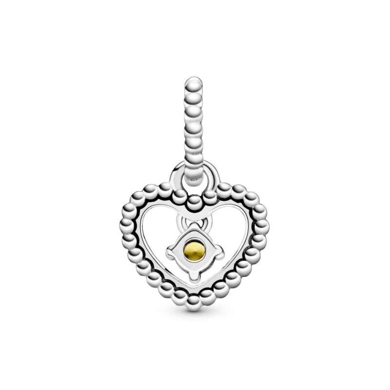 Talisman tip pandantiv cu inimioară cu mărgele galben miere